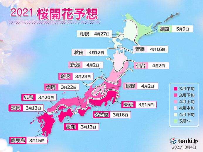 桜開花めざしてまっしぐらに 次の週末には福岡や高知で開花する予想