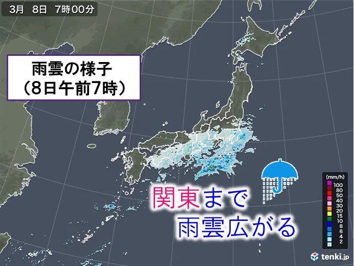 8日 東海や関東は冷たい雨 都心9度予想 晴れエリアは気温上昇
