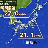 北海道や東北で瞬間的に20メートル以上の風 高い所での作業は危険