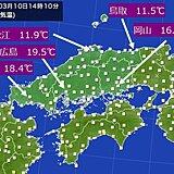 中国地方 瀬戸内側を中心に気温上昇。一方、夜は冷え込む。