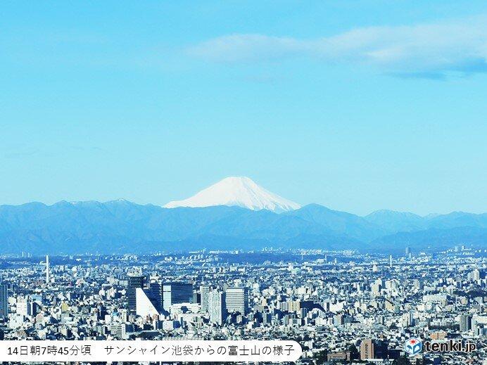 富士山くっきり 平野部は広く晴れる