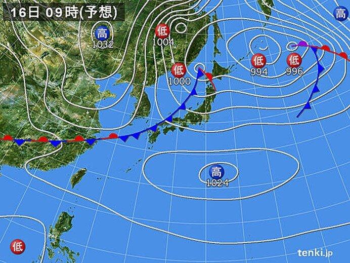 16日~17日 前線の通過後の寒気は北日本が中心 九州~関東20℃超も