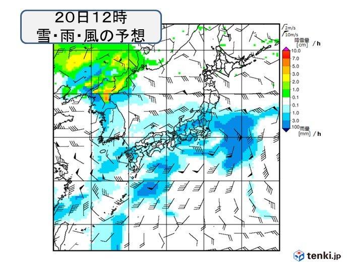 18日~20日 九州から関東を中心に雨 太平洋側を中心に雨量が多くなる