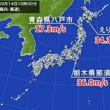 非常に強い風 栃木県那須町で最大瞬間風速36.0メートル