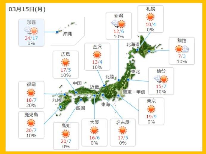 きょうの天気 多くの所で晴天