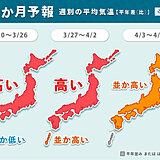 桜が咲き進む暖かさ 3月後半は九州~北海道で「かなりの高温」1か月予報
