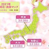 甲府・和歌山・大分で桜開花 統計開始以来2番目タイの早さの所も