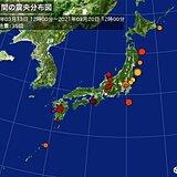 ここ一週間(20日12時まで)の地震回数 震度3の地震が7回