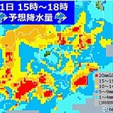関東 雨や雷雨 道路が川のようになるほど激しく降る所も 風も強まる