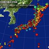 過去100日間の震源地ごとの地震発生回数 福島県沖で118回