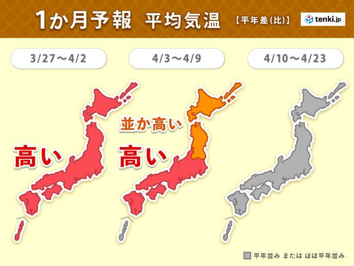 28日ごろ春の嵐 かなりの高温 4月に入ると高温傾向弱まる 1か月予報