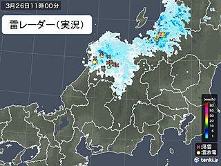 北陸に雨雲や雷雲 ザーザー降りの雨 落雷も発生 昼過ぎまで大気の状態不安定