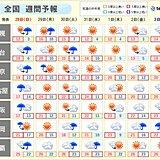 週間予報 日曜から月曜は雨風強まる 週明けは初夏のような陽気も 次の週末はまた雨