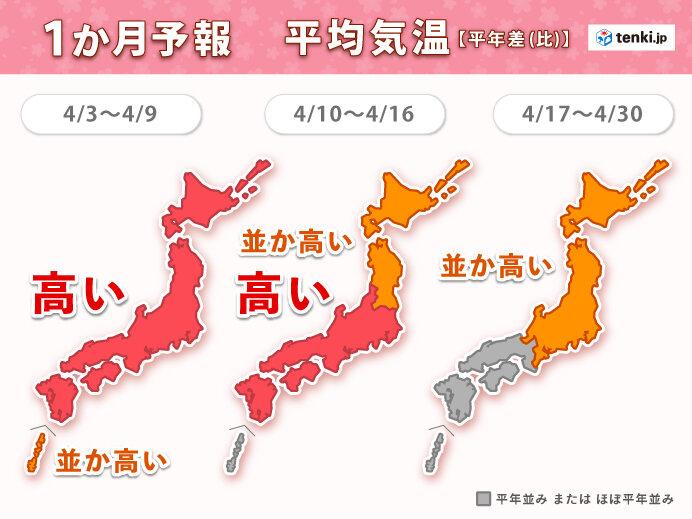 4月は春らしく「変わりやすい天気」 前半ほど「高温」で桜前線は北へ  1か月予報