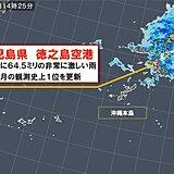 鹿児島県 徳之島空港で1時間に64.5ミリの非常に激しい雨