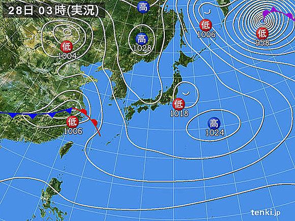 28日 低気圧急発達 西から荒れる