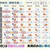 九州 3週連続、週末は雨 来週は弱い寒の戻り