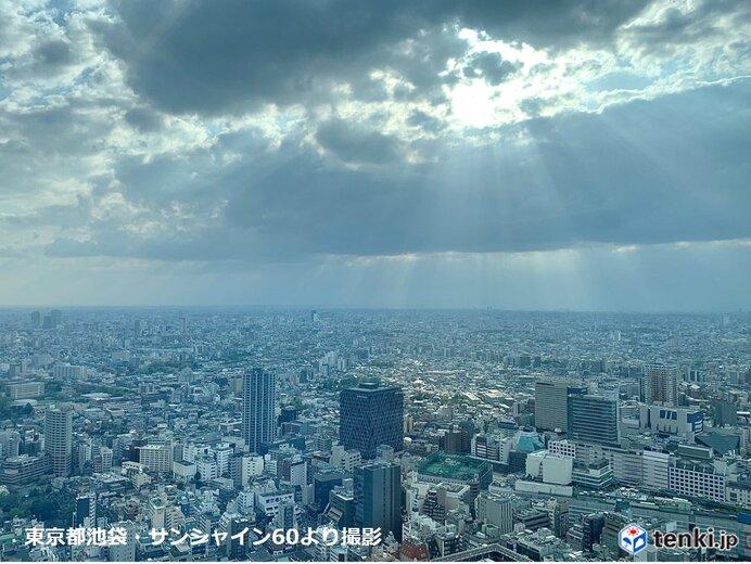 東京都心で「天使のはしご」が見えました