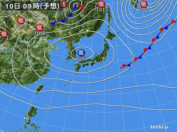 あす10日(土)の天気