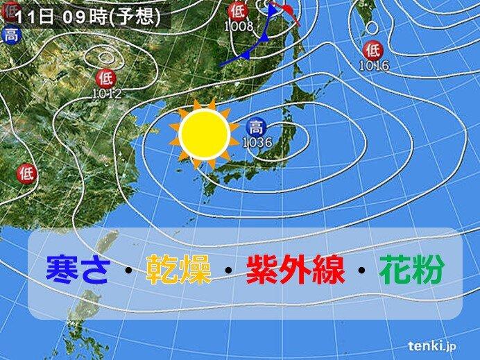 中国地方 週末は晴れても空気はヒンヤリ 春の紫外線と乾燥対策も万全に