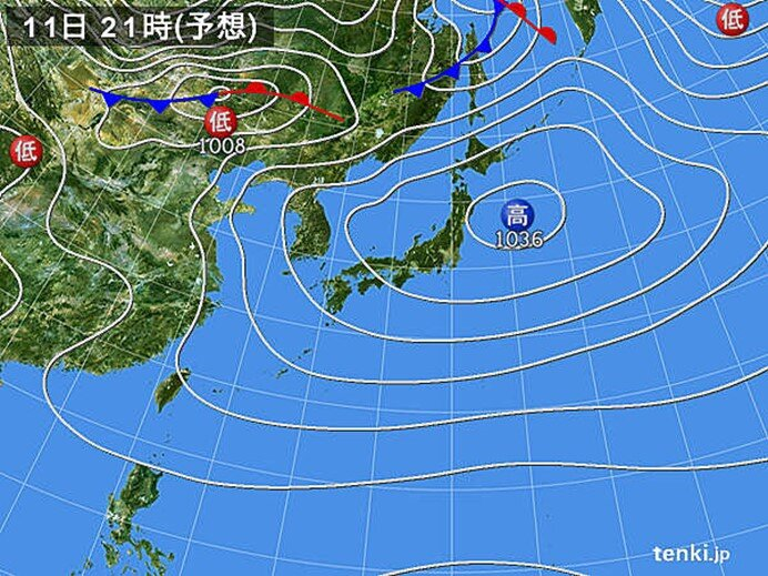 11日(日)の天気 全国的に日差したっぷり