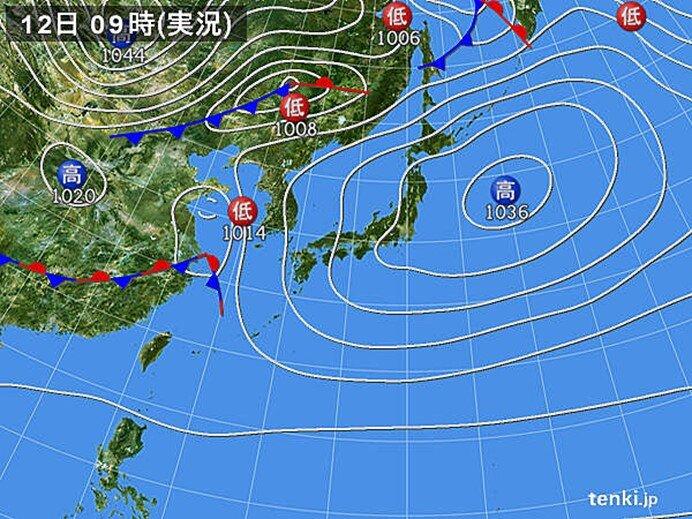 北海道~近畿を中心に空気乾燥 九州などには雨雲かかる