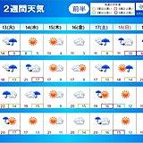2週間天気 今週は火~水曜と土日に雨 非常に激しい雨も 強風・突風にも注意