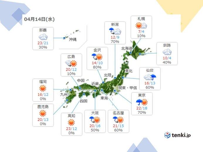 きょうの天気 九州~中国地方、東海~東北 雲が広がりやすい
