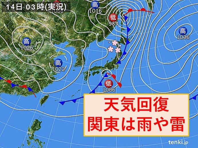 14日 天気は回復 関東は局地的な雨や雷雨