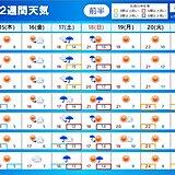 関東 週末雨のあと来週は25度以上の夏日も 2週間天気