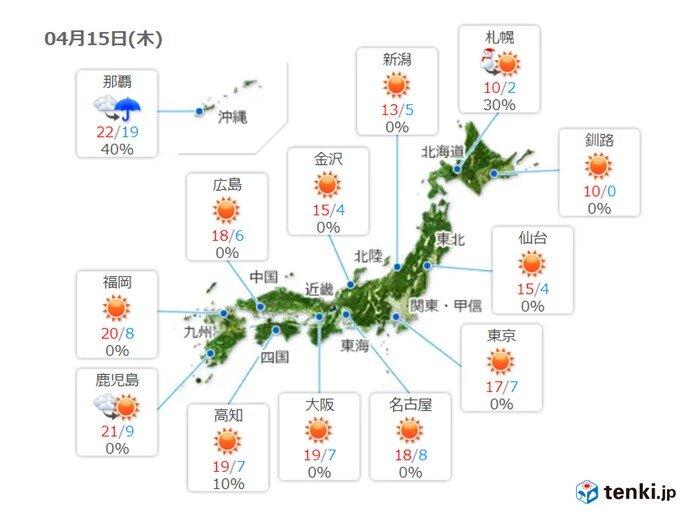 15日 関東なども天気回復 日差し暖か 紫外線に注意