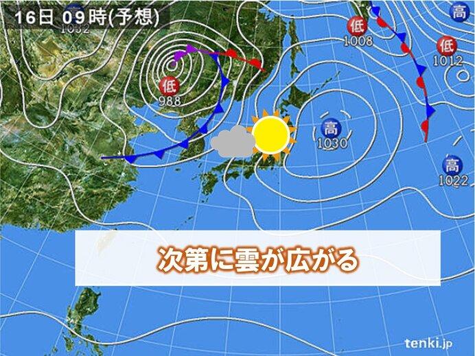 あす16日(金)は晴れるが次第に雲が広がる