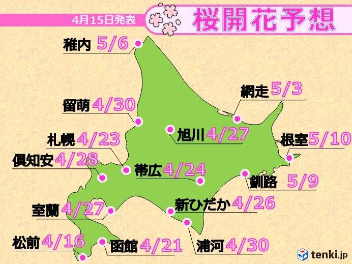 1週目(4月17日~4月23日) 桜前線は史上最早の上陸か!?