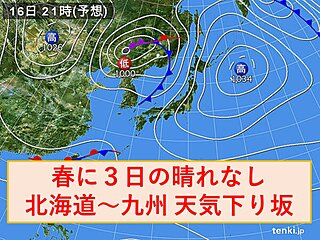 16日 春に3日の晴れなし 北海道から九州 ゆっくり下り坂