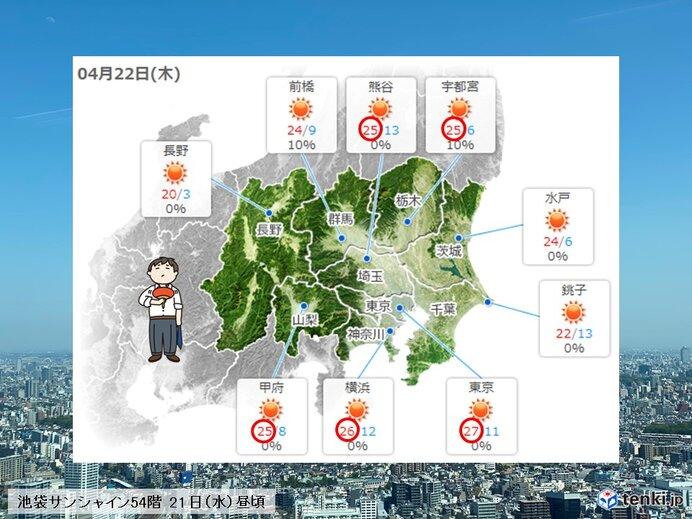あす22日(木) 汗ばむ陽気が続く 横浜でも今年初の夏日?