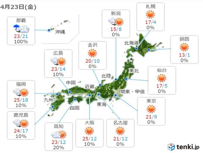 最高気温 西日本はきょうも所々で25度以上