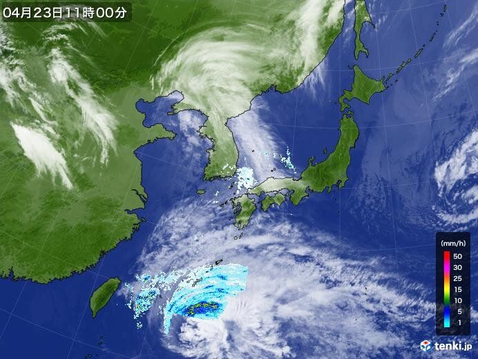 先島諸島で激しい雨を観測