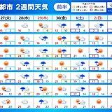 2週間天気 数日ごとに雨雲が通過 29日(昭和の日)頃は雨や風の強まる所も