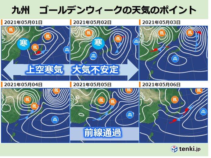 九州 ゴールデンウィーク前半 大気非常に不安定 激しい気象現象に注意