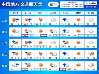 中国地方 2週間天気(ゴールデンウィーク天気)