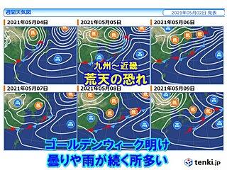 あす3日は北陸付近で雷雨 ゴールデンウィーク最終日5日は広く雨・荒天の恐れ