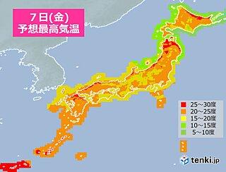 7日 関東以西は所々で雨 暑さ和らぐ 北陸以北は気温上昇 北海道で夏日も