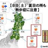 8日(土) 仙台では今年初めて夏日の可能性も 体調管理に注意