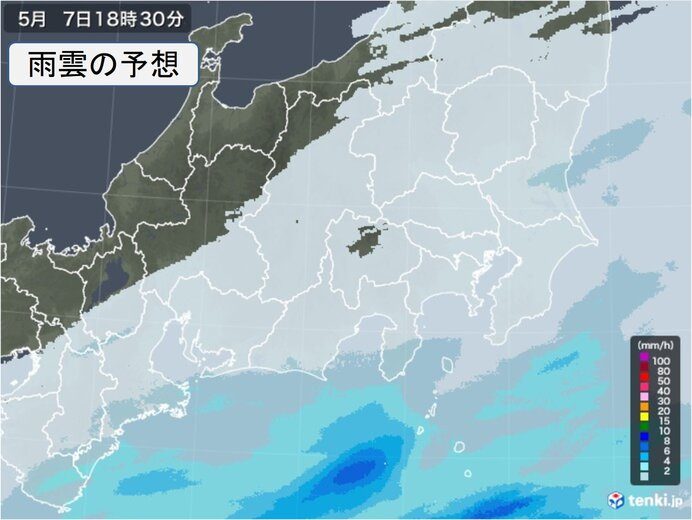 関東に雨雲