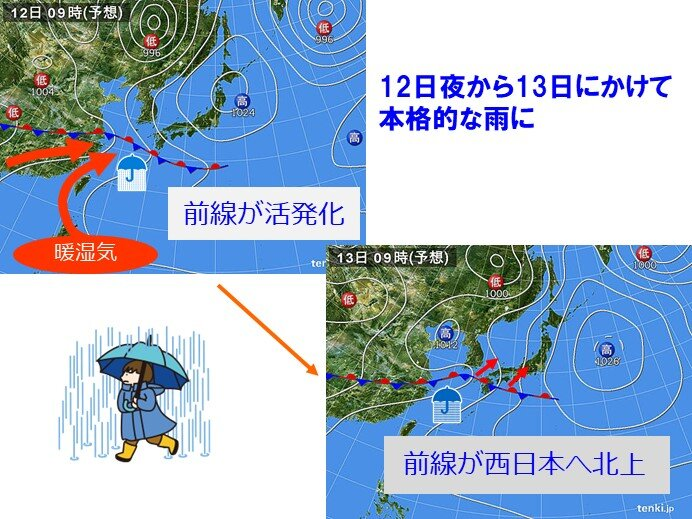 12日(水)から13日(木)は本格的な雨に