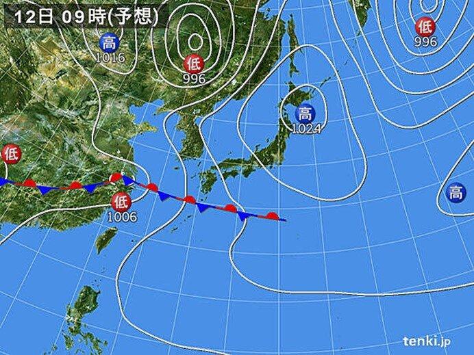 12日(水) 九州や四国は激しい雨に
