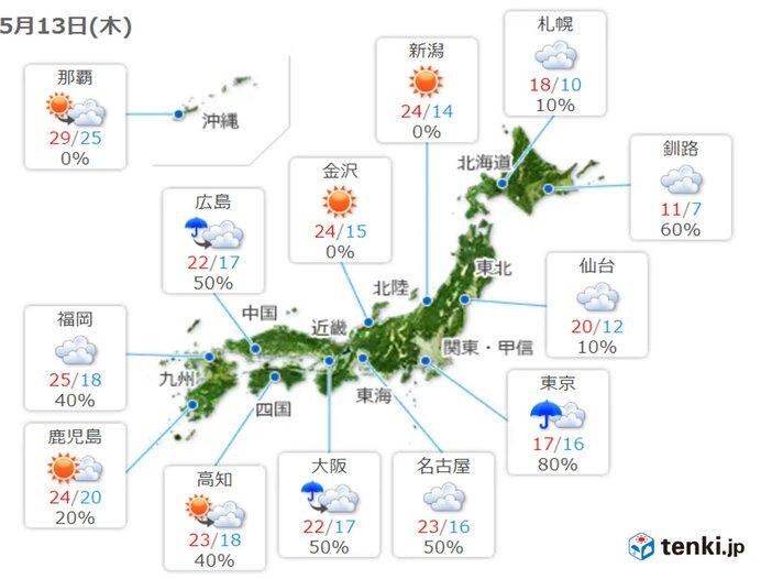 13日(木) 曇りや雨の所が多い 関東は雨の時間が長く 空気は少しヒンヤリ