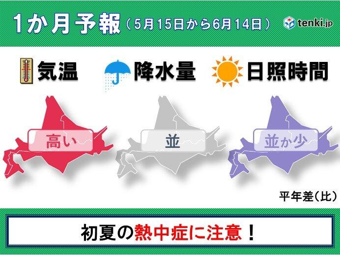 北海道の1か月予報 気温は高め いよいよ真夏日も!?