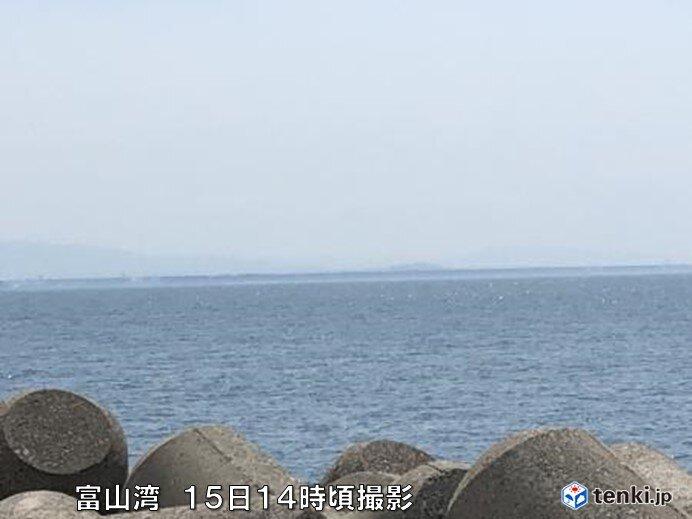 富山湾に蜃気楼が出現