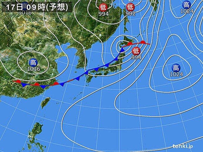17日(月) 日本海側を中心に大雨の恐れ